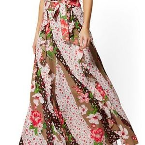 NWT Floral Ruffle Maxi Skirt